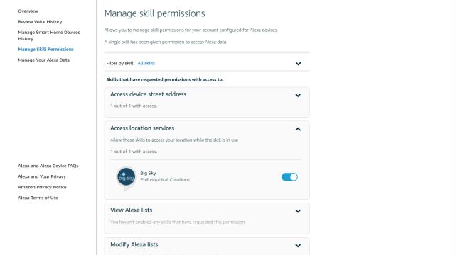 Manage skill permissions in Alexa
