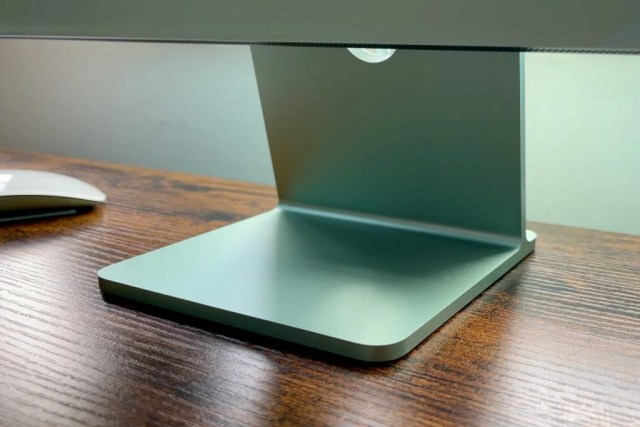 iMac 24-inch, M1 stand in green on desk