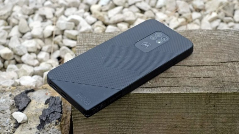 Back of the Moto Defy rugged phone