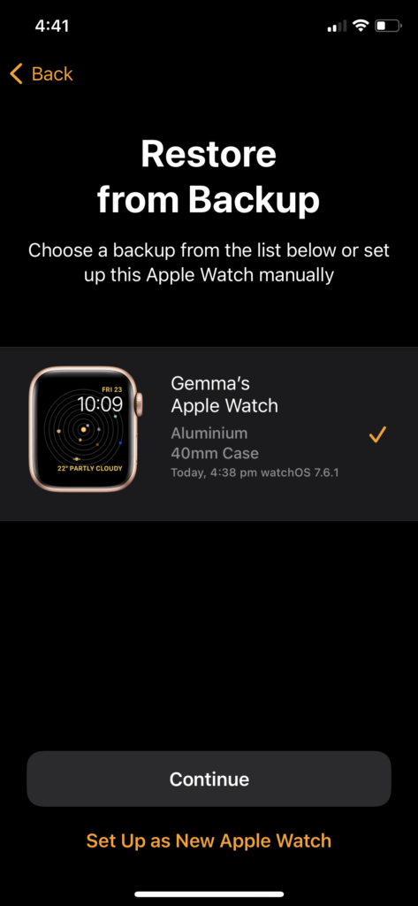 Apple Watch restore from backup 3
