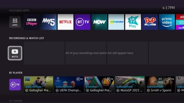BT TV Box Pro main interface