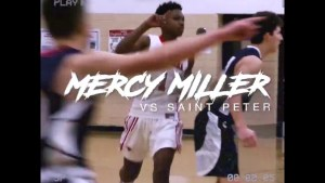 "Mercy Miller 8th grade 6'2 "" point guard goes for 25 point in a high school game"