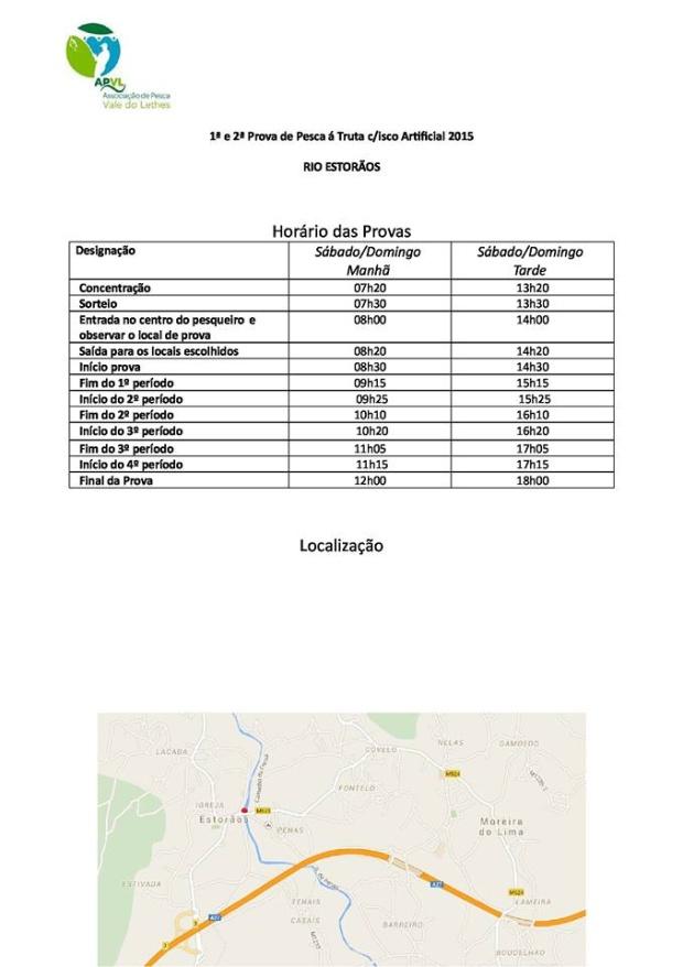 Calendário e mapa da prova do campeonato nacional de pesca à truta com isco artificial - Rio Estorãos 2015