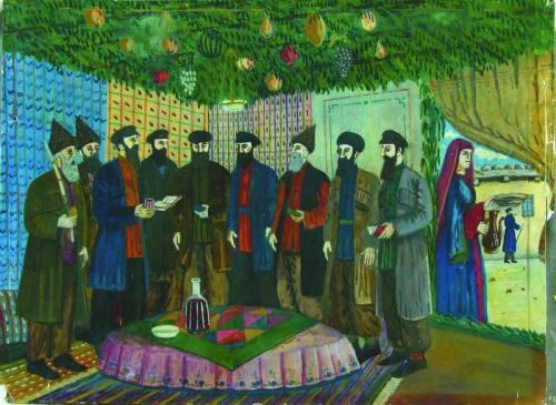 Shalom_Koboshvili._Feast_of_Sukkot_prayers._gouache_on_paper._30.5×41_cm._1938