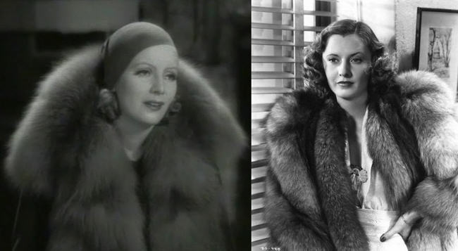 Greta Garbo, Barbara Stanwyck, fox fur