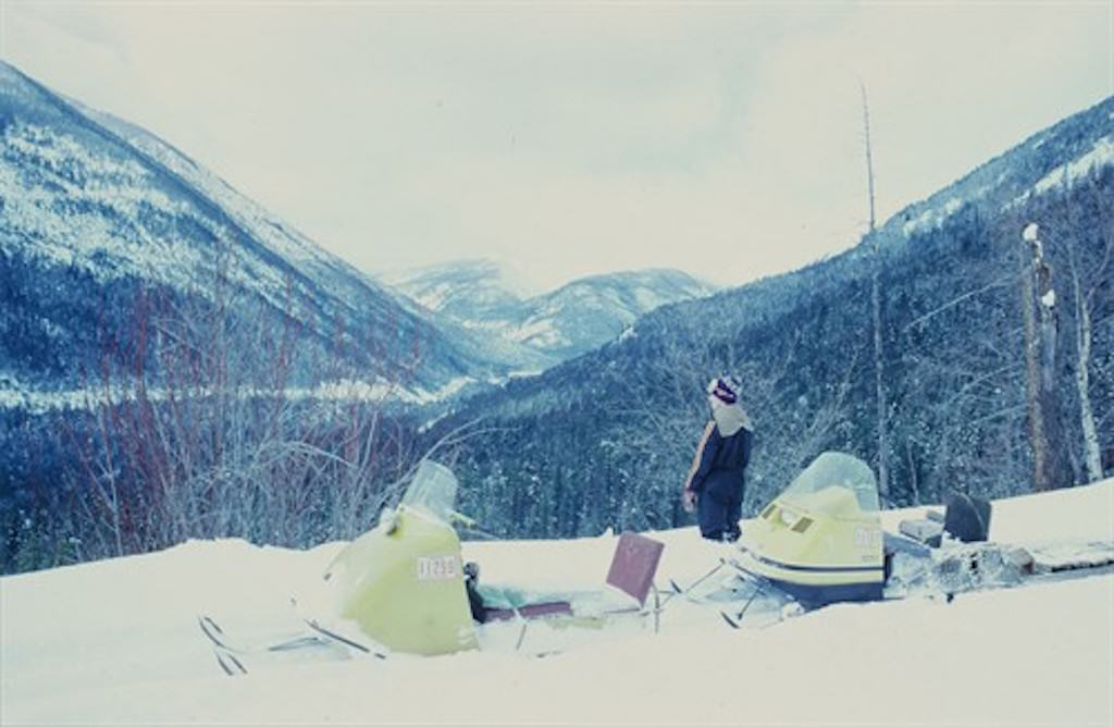 snowmobiles in the high country of the Selkirk Mountains