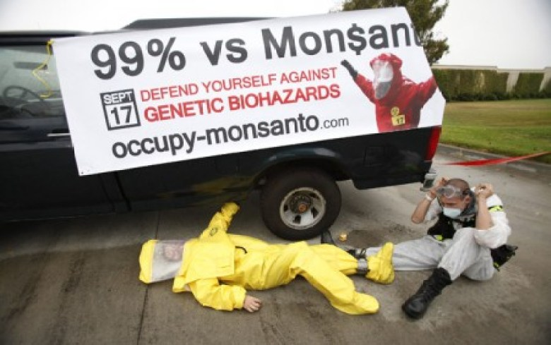 Protesters against Genetically Modified Organisms (GMO) are chained to a vehicle as they block a delivery entrance to a Monsanto seed distribution facility in Oxnard