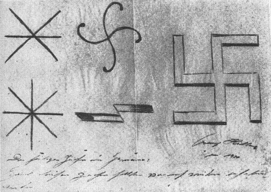 Drafts of Hitler for the symbol of the Nazis, 1920