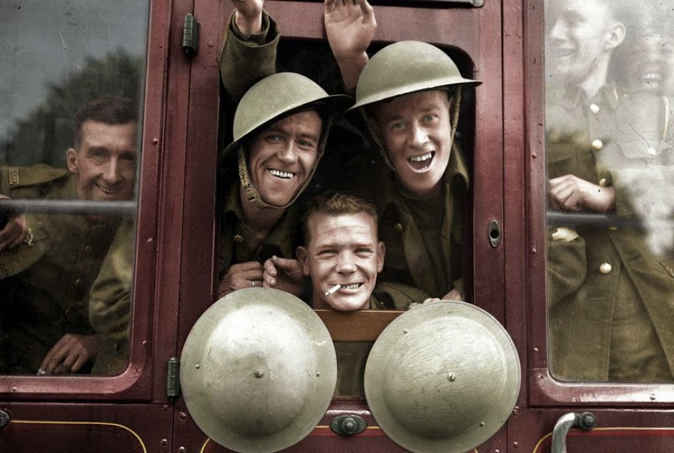 British soldiers embarked enthusiastically on the train for the trip to the Western Front, England, September 20, 1939