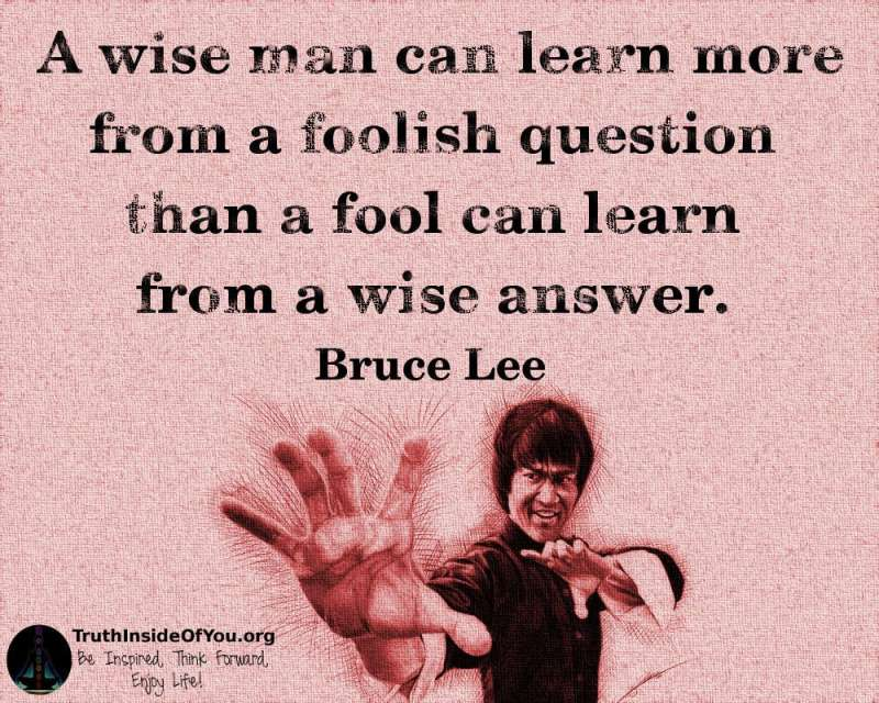 A wise man can learn more from a foolish question than a fool can learn from a wise answer. ~ Bruce Lee