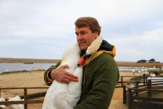 swan hugs man