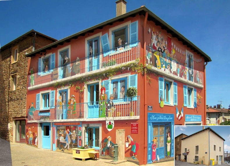 Artist from France paints colourful neighborhoods in cheerless walls.11