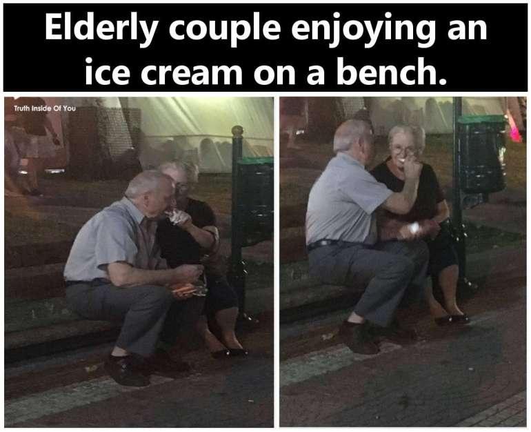 Elderly couple enjoying an ice cream on a bench