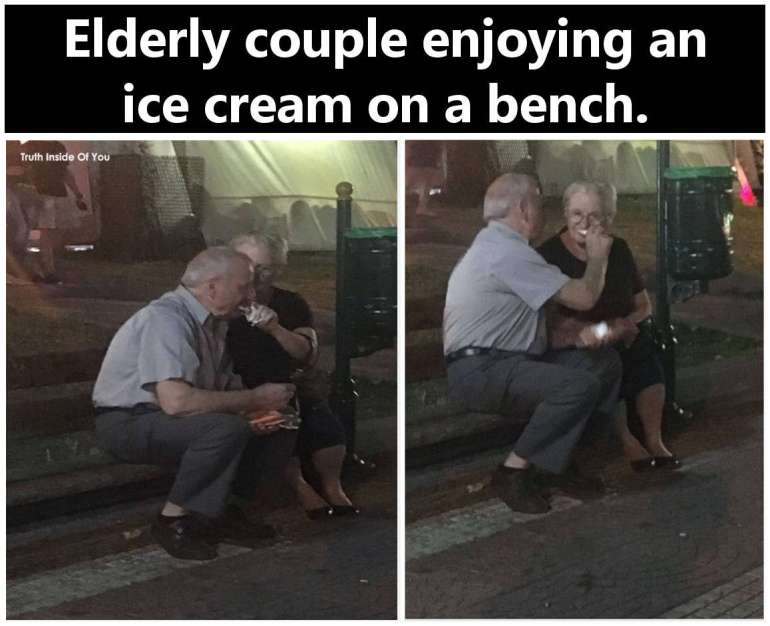 Elderly couple enjoying an ice cream on a bench