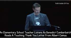An Elementary School Teacher Listens As Benedict Cumberbatch Reads A Touching Thank You Letter From Albert Camus