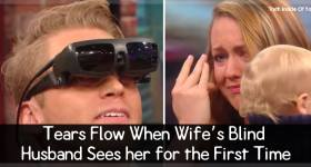 Tears Flow When Wife's Blind Husband Sees Her For The First Time.