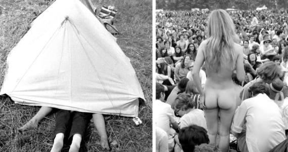 Left A young couple are caught making love inside their tent, Isle of Wight Festival, 1969. Right A nude woman stands before a crowd at a concert in Hyde Park, 1970.