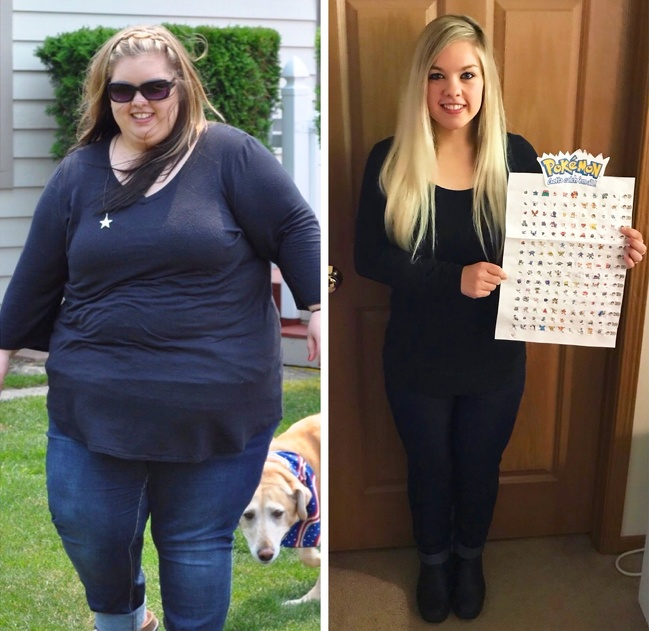 2. Dedication to Pokemon led one woman to lose almost 150 lbs in 2 years, for which she rewarded herself with a Pokemon. Go Pikachu!