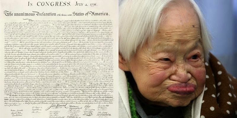 7. The oldest living person's birth is closer to the signing of the Constitution than present day.