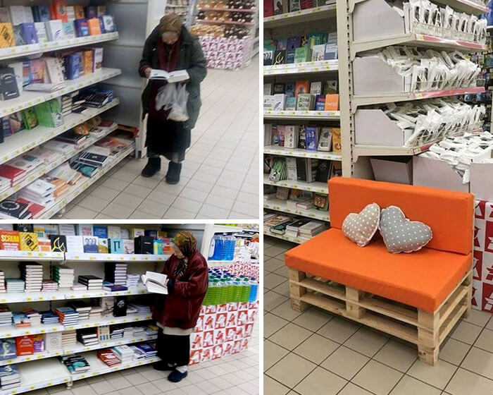 This Old Lady Goes To The Supermarket To Read Books All The Time So The Manager Put A Little Bench For Her.