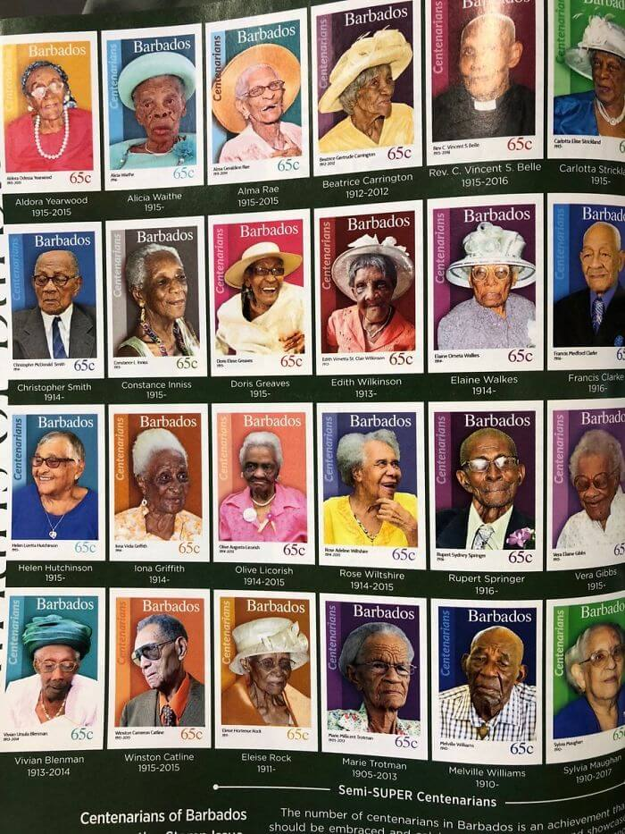When You Reach 100 Years Old In Barbados, You Get A Stamp In Your Honour. Amazing!