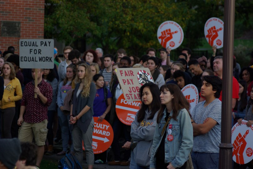 Ithaca College faculty union protest. Oct. 19, 2016. Photograph: Josh Brokaw.