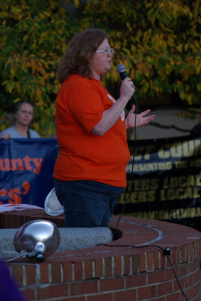 Megan Graham speaks at Ithaca College faculty union protest. Oct. 19, 2016. Photograph: Josh Brokaw.