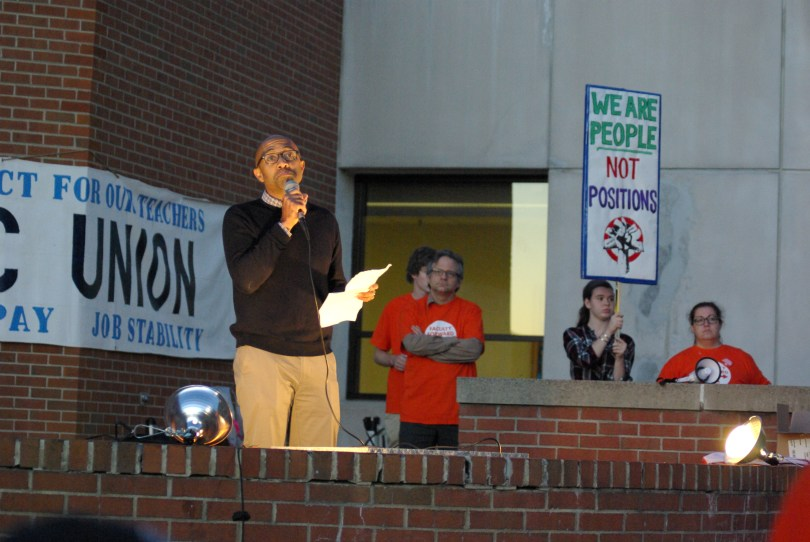 Russell Rickford speaks at Ithaca College faculty union protest. Oct. 19, 2016. Photograph: Josh Brokaw.