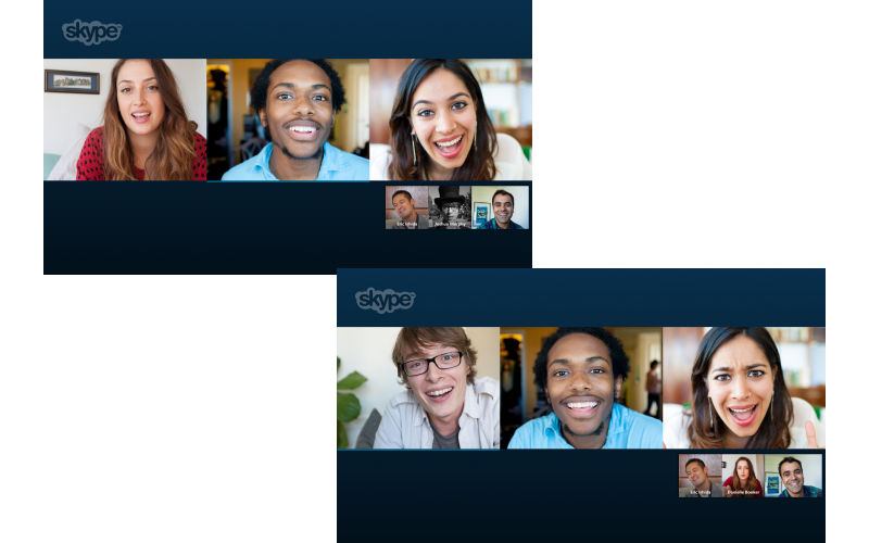 Skype group video calling, free video calls, group chatting on Skype