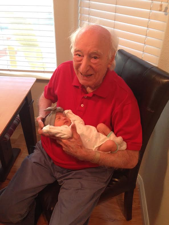 Pap at 97 years old, holding his 97 hour old great granddaughter