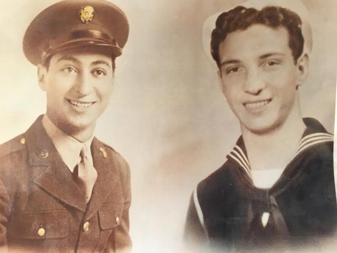 Grieco brothers during WWII. Pap, pictured left, in the Army, and Bill, pictured right, in the Navy