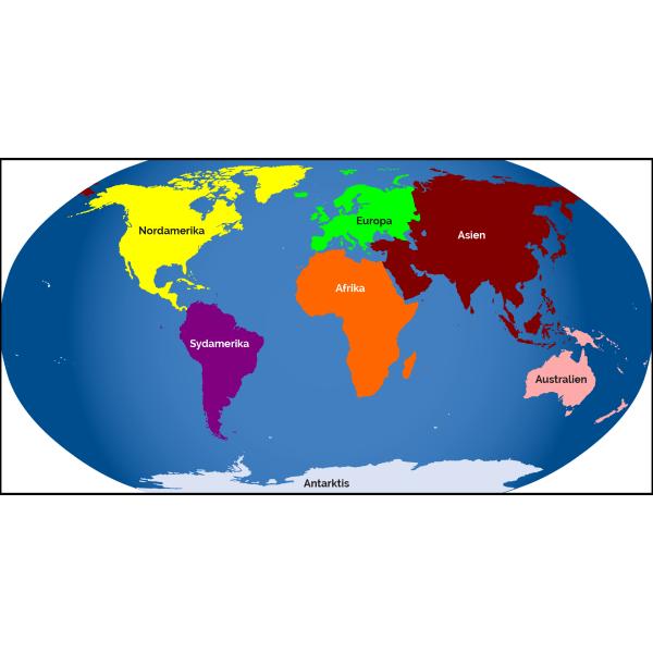 Verdenskort med kontinenter på plade
