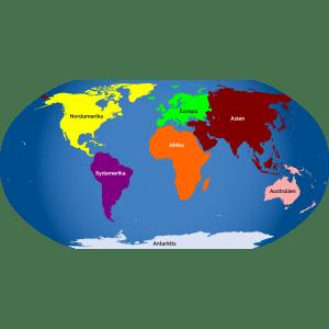 Verdenskort med kontinenter