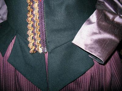 Close up of trim & fabric colors