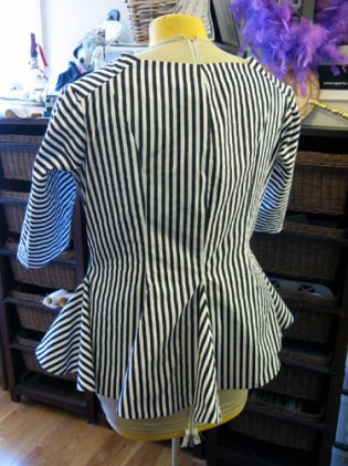 B/w stripey jacket, almost done, back