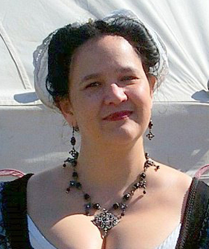 Trystan's plain wired cap, worn at SCA Beltane 2011, photo by Sandra Linehan