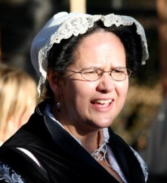 Closeup of Trystan's lace-trimmed cap at Much Ado About Sebastapol faire 2011, photo by Claudia Laughter