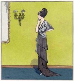 Le Gazette du Bon Ton, February 1914, dinner dress (image source: costumes.org)