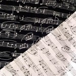 black & white music-print fabrics