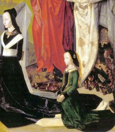 1476-9, Portinari Triptych1476-79, detail of the donor's wife Maria Portinari & her elder daughter Margherita with Saints Margaret and Mary Magdalene from the Portinari Triptych by Hugo van der Goes of Ghent/Bruxelles