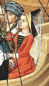 1480-1500, detail of handmaiden from Scenes From the Life of St. Ursula by unknown master from Bruges