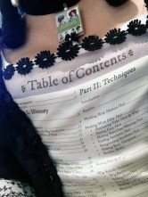Table of contents to Kendra's book turned into a stomacher