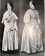 Two of Charlotte Brontë's gowns being modeled, image from The Brontë Society Collections
