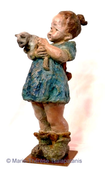 sculpture-marie-therese-tsalapatanis-La Petite-au-Chat-1
