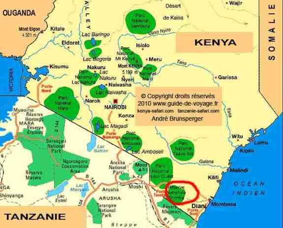Carte - Excursion mini safari Shimba Hills Kenya près des plages de l'océan Indien