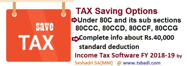 Income Tax Saving options under section 80C, 80CCC, 80CCD income tax software for AP and Telangana Govt employees