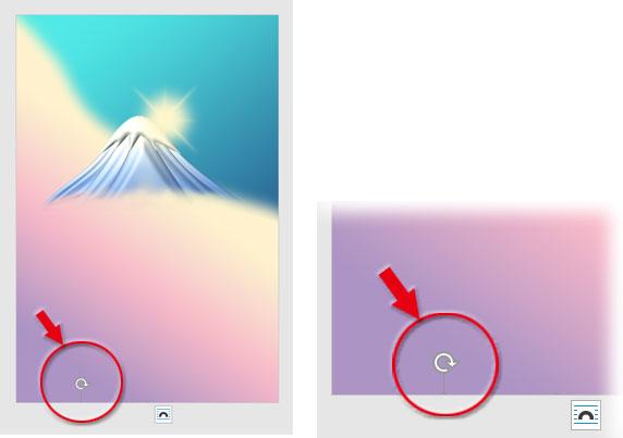 ファイルの下隅に画像の上辺のハンドルが出ている