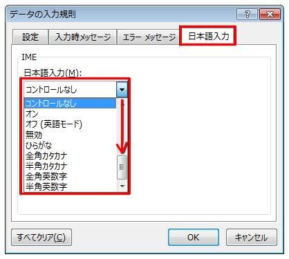 データの入力規則の日本語入力ダイアログボックス