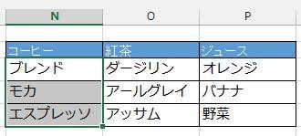 名前ボックスのプルダウンメニューから選んだセル範囲がアクティブになる