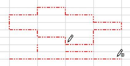 鉛筆モードで細かく罫線を描画